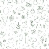 Spring black and white pattern vector illustration