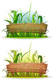 Spring Blades Of Grass With Wood Fence royalty free illustration