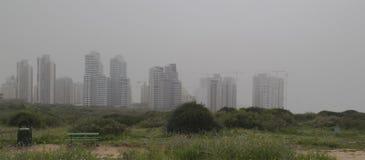 Spring bloomimg field and new skyscraper buildings in sandstorm. Spring bloomimg field and new residential neighborhood in Israel In Sandstorm Hamsin. Panoramic Royalty Free Stock Photos