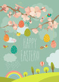 Spring blooming tree with easter eggs. Vector greeting card vector illustration