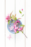 Spring - blooming twig with pink flowers in a china bowl Stock Photography