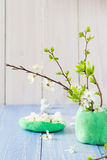 Spring blooming twigs wooden table stock images