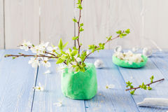 Spring blooming twigs wooden table royalty free stock photos