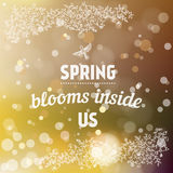 Spring blooms inside us card in vector. Royalty Free Stock Photo