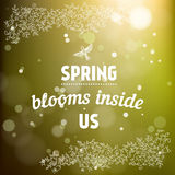 Spring blooms inside us card in vector. Royalty Free Stock Images