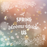 Spring blooms inside us card in vector. Royalty Free Stock Photos
