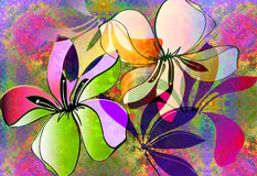Spring bloosom_neon mist. Tropical floral layout with nein spray paint texture Stock Photography