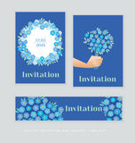 Spring blossom invitation card template. Stock Photo