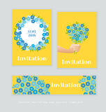 Spring blossom invitation card template. Royalty Free Stock Photo
