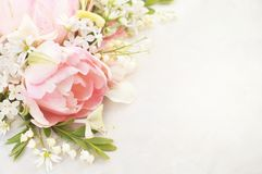 Spring blossoming tulips and springtime flowers background, pastel and soft floral card stock image