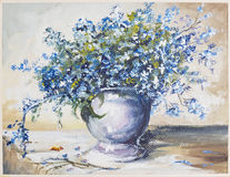 Spring blue flowers oil painting Royalty Free Stock Photography