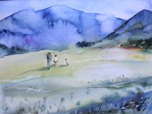 Spring blue mountain watercolor landscape. People walk on the field. Spring mountain watercolor landscape. People walk on the field Royalty Free Stock Photography