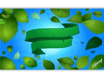 Spring blue panel and leafs with green banner Stock Photo