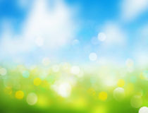 Spring blurred background sky grass illustration. Sky grass blurred background.Blue green spring Easter illustration.Horizon nature meadow wallpaper Royalty Free Stock Photos