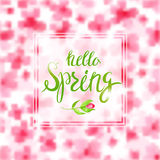 Spring Blurred Background whith Lettering and Flowers. Royalty Free Stock Photography