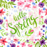 Spring Blurred Background whith Lettering and Flowers. Stock Image