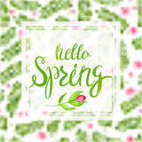 Spring Blurred Background whith Lettering and Flowers. Hello spring.Transparent frame with spring lettering on spring flowers blurred background. Vector Stock Images