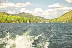 Spring Boat Ride/Mountains/Sky royalty free stock image