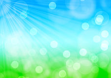 Spring bokeh background. With sunbeam Stock Image