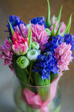 Spring boquet of flowers in vase on postcard Royalty Free Stock Image