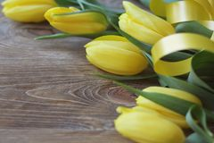 Spring bouguet of yellow tulips with green leaves and satin yellow ribbon close-up on wooden brown background. Stock Images