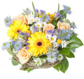 Spring bouquet. Bouquet of different flowers isolated on white royalty free stock photo
