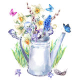 Spring bouquet with daffodils, pansies, muscari and butterflies. Beautiful spring bouquet with daffodils, violets, verbena, pansies, muscari and butterflies in Royalty Free Stock Images