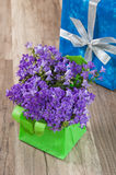 Spring bouquet and gift box Royalty Free Stock Photos
