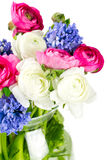 Spring bouquet in glass vase Royalty Free Stock Images