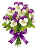 Johnny Jump Ups Pansy Flower Bouquet. Spring bouquet, Johnny Jump Ups Pansy flowers in purple and white with ribbon bow. Isolated on white background. EPS8 Stock Images