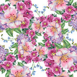 Spring bouquet lilac flowers , watercolor, pattern seamless Royalty Free Stock Photography