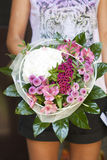 Spring bouquet. Modern spring bouquet in flowershop. Flower bouguet in pink color Royalty Free Stock Photo