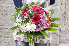 Spring bouquet. Modern spring bouquet in flowershop. Flower bouguet in pink color Stock Photos