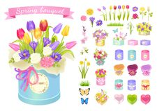 Spring Bouquet Poster Set Vector Illustration. Spring bouquet, poster with collection of boxes and flowers in blossom, butterflies and ribbon, isolated on vector Royalty Free Stock Photography