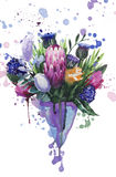 Spring bouquet. Of proteus, tulips and eucalyptus stock illustration