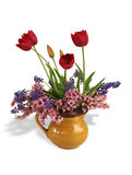 Spring bouquet with shadow. Isolated on white royalty free stock image