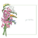 Spring bouquet sparse card Stock Image