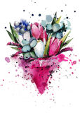 Spring bouquet. Bouquet of tulips in a pink cone stock illustration