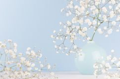 Spring bouquet of white small fluffy flowers in blue smooth circle ceramic vase on soft white wood table and pastel blue wall. Spring bouquet of white small stock images