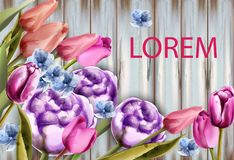 Spring bouquet on wooden background Vector. Tulips and roses watercolor. Spring summer cards stock illustration
