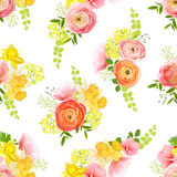 Spring bouquets of rose, ranunculus, narcissus seamless vector p Royalty Free Stock Photography