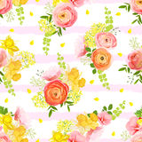 Spring bouquets of rose, ranunculus, narcissus striped seamless Royalty Free Stock Photography