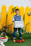 Spring boy with apples Royalty Free Stock Images