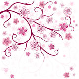 Spring branch. On a white background with flowers (vector Stock Photos