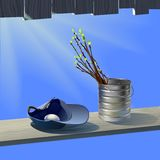Spring branches with leafs against blue sky. Spring branches with  leafs in jar and white egg in baseball cap on plank under sun light.  Rays of sun streaming Stock Image