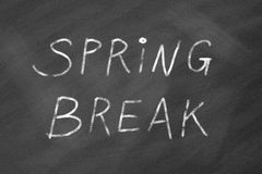 Spring break. Blackboard.  written on chalkboard royalty free stock photos