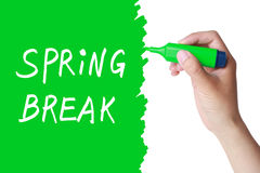 Spring break. Concept with a green marker drawing Royalty Free Stock Photos