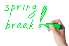 Spring break. Concept with a green marker drawing stock photos