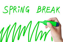 Spring break. Concept with a green marker drawing stock photo