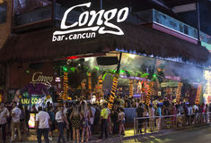 Spring break at Congo Bar in Cancun. CANCUN, MEXICO - MARCH 1, 2017: The popularity of Cancun as a Spring break destination is partly due to the lively nightlife stock photo